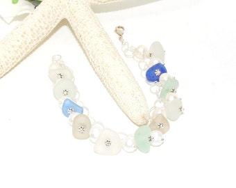 Sea Glass Bracelet, Spring Bracelet, Sterling Beach Bracelet, Lake Erie Beach Glass Jewelry, Sea Glass Jewelry, Mothers Day Gift