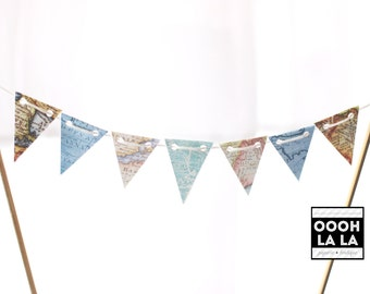 MADE TO ORDER Vintage Map Cake Bunting/Banner
