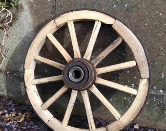 Old Antique Wooden Cartwheel