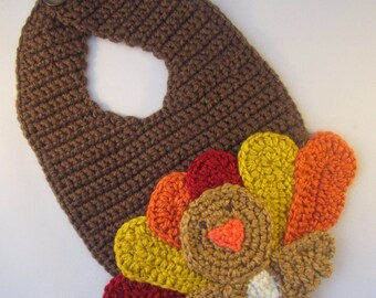Baby's First Thanksgiving Handmade Crocheted Turkey Bib/Christmas Turkey Handmade Crocheted Baby Bib/ Washable Baby Bib/ Turkey Bib