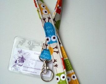 Lanyard - ID Holder Comes with Swivel Lobster Claw and Key Ring- Zoologie Owls