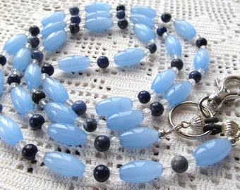 Badge or Eyeglass Lanyard in Blue Glass Ovals, Clear Crystal and Round Sodalilte Beads