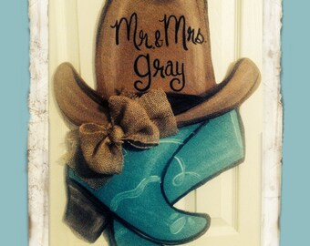 Cowboy boots door hanger