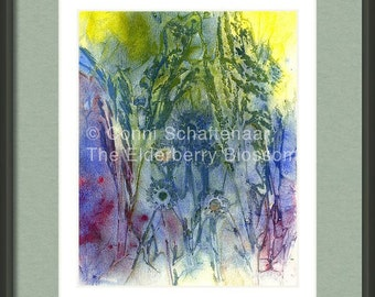Father's Day Gift Idea Instant Print Download 5x7 Print from Watercolor Abstract Summertime Impressions  for matting and framing