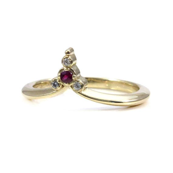 Ruby and Diamond Pointed Cluster Ring - 14k Gold Stacking Boho Wedding Band