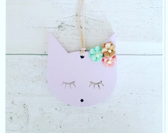 Cute hanging kitty accessory-cats/kids room/nursery decor/gifts/cats/gifts for girls/flowers/cat gifts