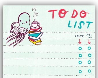 Book Lovers To Do List Pad, handmade gift for her, book gift for mom, book lover gifts for her, book lover gift for him, stationery lists