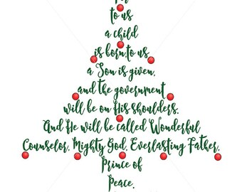 Christmas Tree, Scripture Card Embellishments, Unto Us a Child is Born, PDF, png and JPG Files