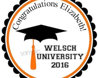 Graduation Stickers, Graduation Party Favor labels, Gift Stickers, seals,  Graduation Hat, Choose your colors, set of 12