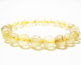 Rutilated Quartz Bracelet Gemstone Bracelet Healing Bracelet Spiritual Bracelet Solar Plexus Chakra Golden Rutilated Quartz Mens Bracelet
