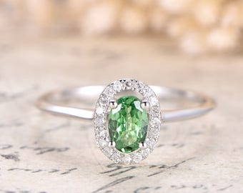 Tsavorite Ring Tsavorite Diamond Halo Ring 14K White Gold Green Garnet Ring Engagement Ring Diamond Band