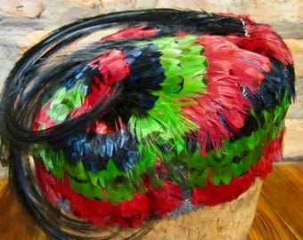 Vintage Hat • 60s Feather Hat • Colorful Hat • Multicolor Feathers Hat • 1960s Hat • Feather Cap • Garden Party Pillbox Hat • Red Green Blue