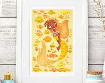 13x19 Yellow Mermie & Fishies Print