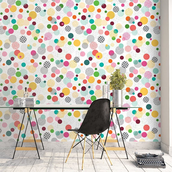 Colorful Bubbles Wallpaper Kids Wall Decor For