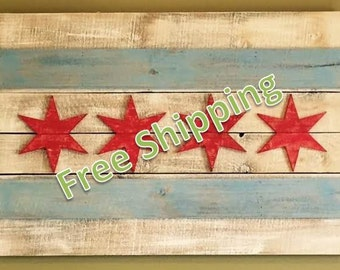Rustic Chicago Flag Constructed From Reclaimed/Repurposed Wood (Free Shipping)