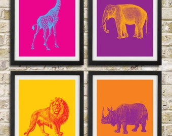 Safari Nursery Pop Art Prints - Elephant Giraffe Lion Rhinoceros African Animals - Children Room Home Decor set of 4 8x10
