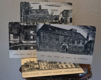 Set of Four Vintage Prints of English Hotels, Old Ship Hotel at Mere in Wilshire, White Hart Hotel at Godstone in Surrey & More