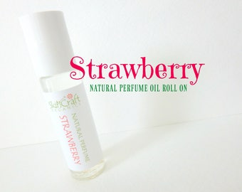 Strawberry Perfume Oil - Natural Roll On Perfume - Organic Strawberry Fragrance Oil - Valentine Gift - Birthday Gift for Her - .3 oz