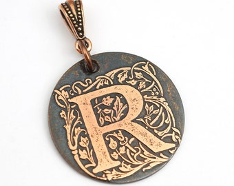 Copper R pendant, round flat antiqued metal monogram jewelry, optional necklace, 28mm