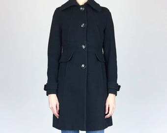 Black Wool Fitted Coat (XS)