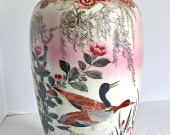 Vintage Japanese Vase Home Decor Porcelain Ducks Hand Painted MCM 03589