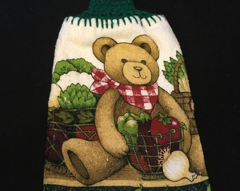 Teddy Bear with Veggies Double Sided Kitchen Hand Towel Paddy Green 3