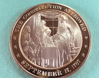 Franklin Mint Medal History of United States Series Constitution Approved 1787, 44 mm Bronze Mint Condition<>#PSY-39