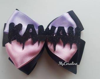 Kawaii Pink and purple Brooche and Hairbow