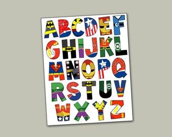 Superhero Alphabet poster 16x20 and letter pack- Digital File