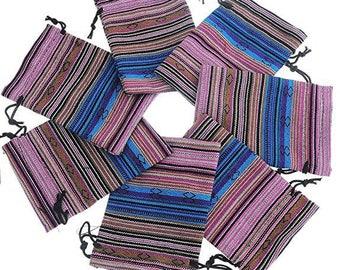 Gift bag ethnic cotton rectangle shape, 10cm x 14cm, set of 2