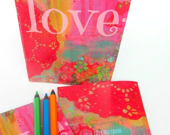 NOTEBOOK LOVE Journal, Blank Notebook, Travel Journal, Recycled Journal, Recycled Notebook, Journal Notebook, Mothers Day, A5 Notebook