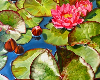 """Waterlily print, 11x14 inch matted print from original oil painting """"Lilypads"""" by Sheryl Sawchuk"""