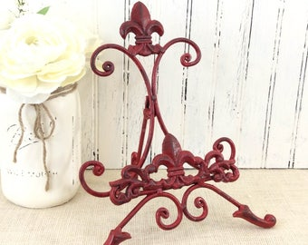 Cast iron Fleur De Lis Metal Easel , painted table top easel, sign holder, photo display, book &cookbook stand, cottage chic, French country