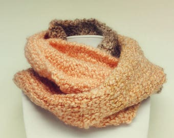 Peach Scarf-Coral Infinity Scarf-Round Scarf-Textured Scarf-Chunky Scarf-Winter Scarf-Hand Knitted Scarf-Knitted Cowl-Woman's Scarf-Cowl