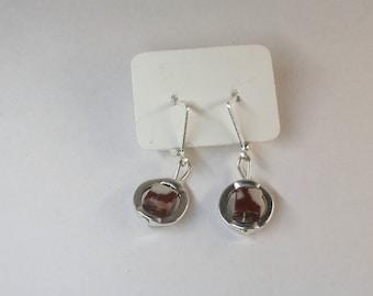 Noreena Jasper cube in Circle Frame Earrings
