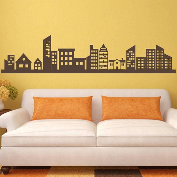 City Lights Wall decal City Skyline High Rise Buildings