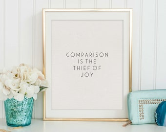 Comparison Is The Thief Of Joy, Theodore Roosevelt,Bible Verse,Scripture Art,Modern Art,Bible Cover,Christian Quote,Scandinavian Decor