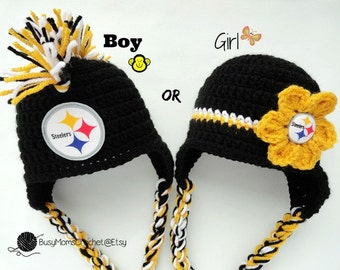 Handmade baby crochet Pittsburgh Steelers inspired HAT ONLY, boy or girl style available, football hat, handmade, newborn to child