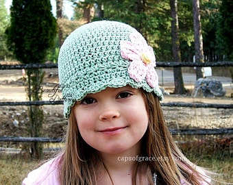 Crochet Hat Pattern Girl Daisy Flapper Beanie PDF 120 Newborn to Adult Photography Prop Instant Download