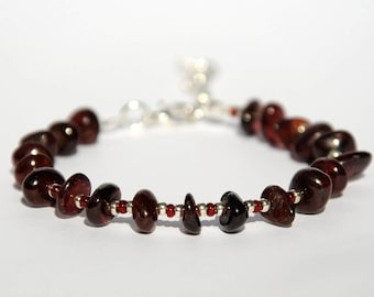 Genuine Garnet Bracelet January Birthstone Jewelry Natural jewelry Garnet Birthday Jewelry Gemstone bracelet Healing bracelet gift for her
