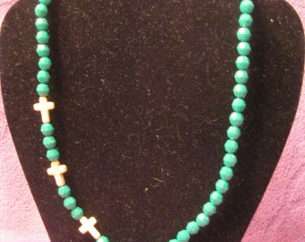 GREEN and WHITE  Choker with CROSSES