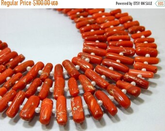 63% OFF Italian Coral / Red Coral Smooth Beads Size-4.2x10 To 6.5x16.5 mm Approx 100 Percent Natural Top Quality Wholesale Price New Arrival