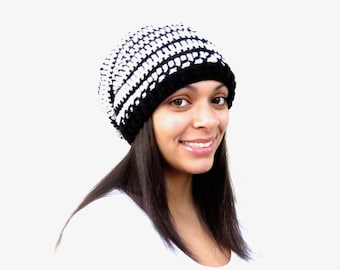Crochet Slouchy Hat, Black and White Hat, Ribbed, Women, Men, Teen, Tam,  Adult, Ready,