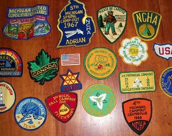 Vintage Lot of 1960's Camping Travel Patches Michigan Canada USA
