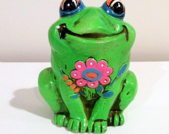 Vintage Green Frog Bank Chalk-ware 1960's  Retro Groovy Frog Pink flowers Mod Frog Bank Hippie Frog  Cool Decor