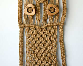 Vintage Macrame Jute Owl Wall Hanging, 1970's Wall Decor