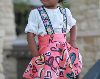 Over the Top: circle skirt with pockets and suspenders pdf pattern sizes 1/2-12