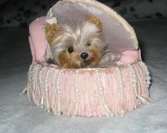 Needle Felted Miniature Yorkshire Terrier Yorkie  Custom Dog Portrait Sculpture by Gourmet Felted / Poseable Lifelike Scamp