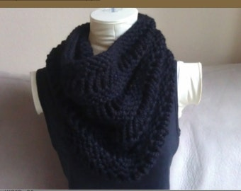 Chunky Black Knitted Cowl Infinity Scarf