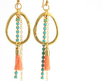 Coral Turquoise Gold Tassel Earrings